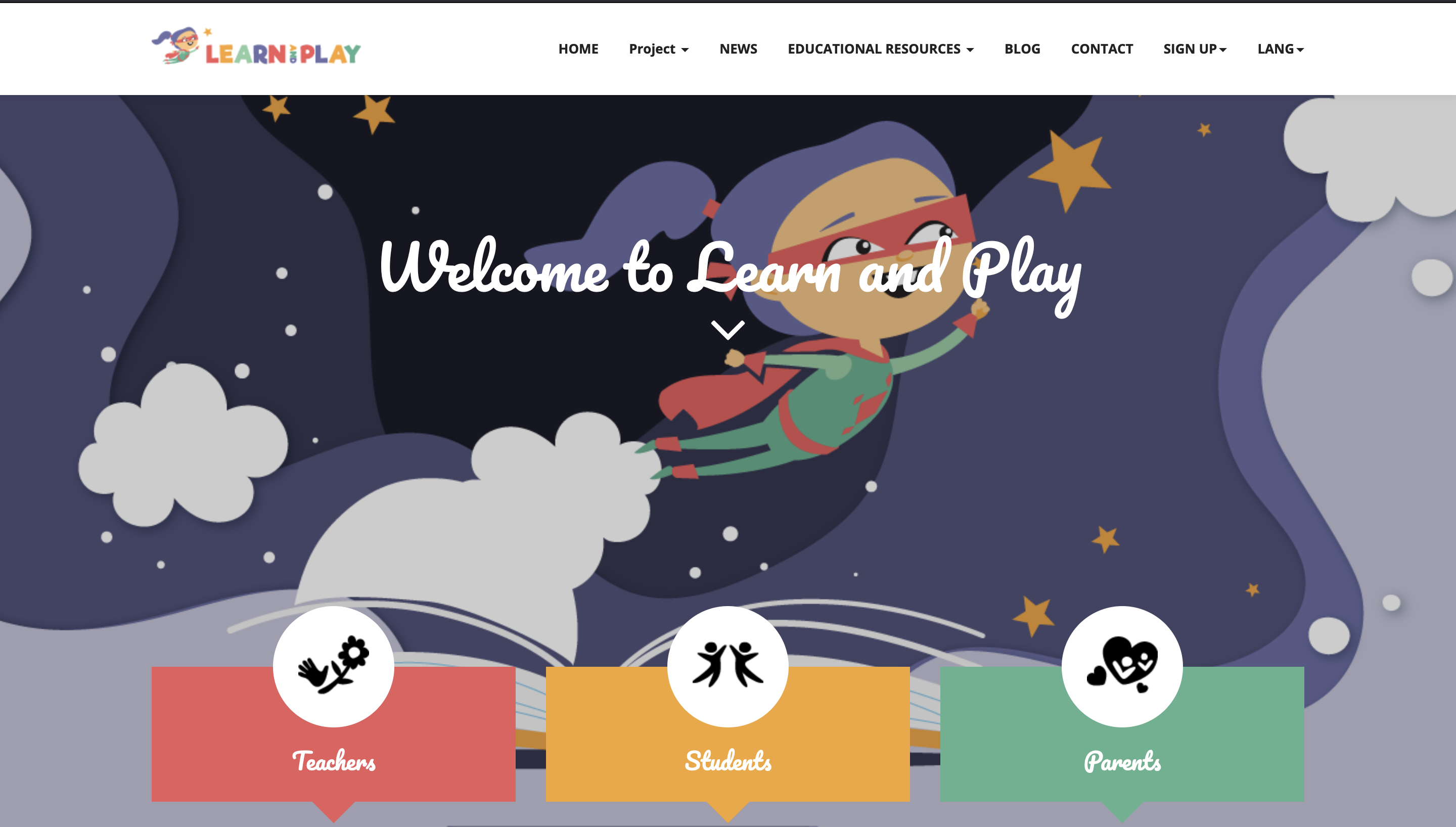 Illustration of Learn and Play's landing page
